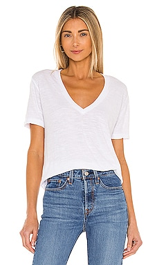 MONROW Oversized V Neck Tee in White