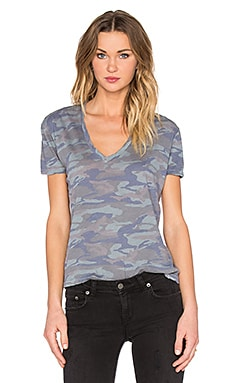Oversized Camo V-Neck Tee in Green Grey