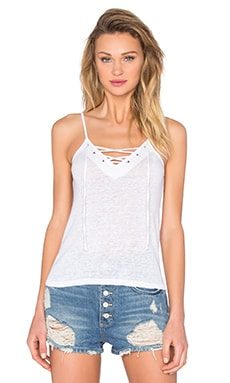 MONROW Lace Up Cami in White
