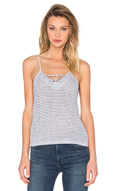 MONROW Lace Up Cami in Blue Stripe