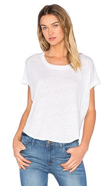Linen Dolman Tee in White