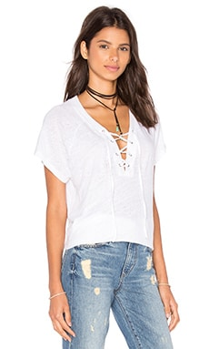 Lace Up Raglan Tee in White