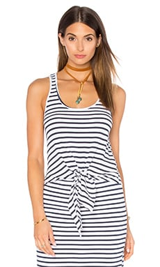 Stripe Tie Front Tank in White