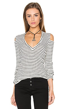 V-Neck Rib Cut Out Long Sleeve in Stripe