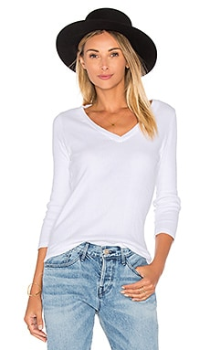 MONROW Open V-Neck Long Sleeve in White