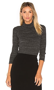 MONROW Stretch Rib Turtleneck in Charcoal