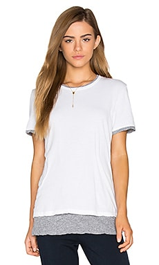 Double Layer Short Sleeve Tee in White