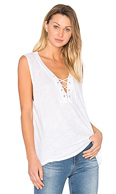 Lace Up Tank in White