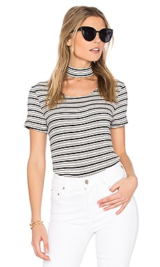 Stripe Choker Tee in Black & White