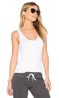 Baseball Hem Rib Tank in White
