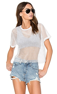 Sporty Mesh Tee with Sports Bra in Dark Heather & Granite