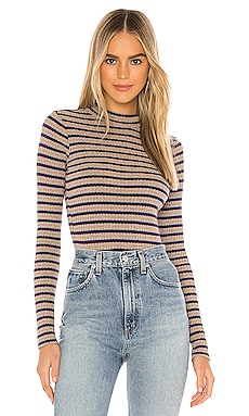 Stripe Mock Neck Long Sleeve MONROW $108 NEW ARRIVAL