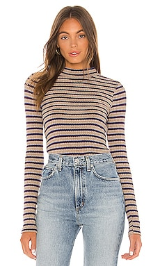 Stripe Mock Neck Long Sleeve MONROW $108
