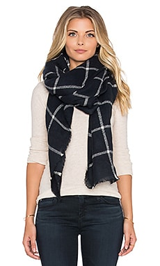 Hat Attack Plaid Blanket Scarf in Navy