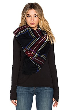 Hat Attack Plaid Blanket Scarf in Black Plaid