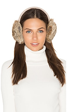 Classic Knit & Rabbit Fur Earmuffs in Ecru & Natural Brown