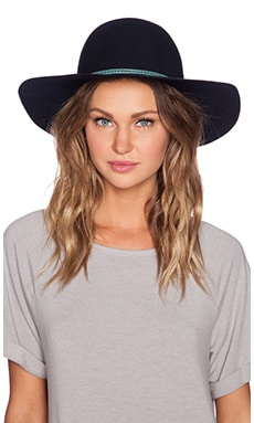 Hat Attack Round Crown Floppy Hat in Navy & Turquoise Tube