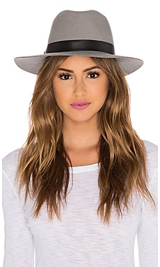 Hat Attack Original Medium Brim Hat in Light Grey & Black Band