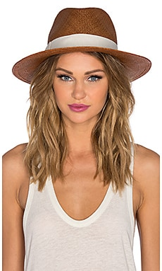 Hat Attack Continental Hat in Brown & White Classic Bow