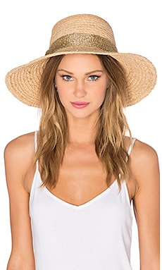Hat Attack Raffia Braid Lampshade Hat in Natural & Gold Mesh
