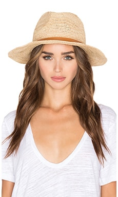 Raffia Crochet Medium Brim Hat in Natural & Tan Narrow Leather Band