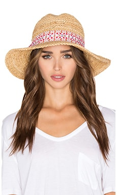 Hat Attack Chunky Crochet Continental Hat in Natural & Pink Wide Embroidered Ribbon