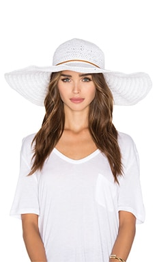 White Ibiza Sunhat in White & Vachetta Leather