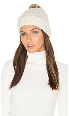 Rabbit Fur Pom Cashmere Beanie in Ivory & Brown
