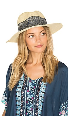 Wide Stripe Fedora in Natural & Navy
