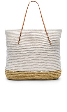 Twisted Colorblock Tote in White
