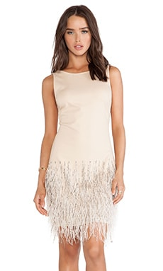 Haute Hippie Sleeveless Embellished Dress with Ostrich Feathers in Buff