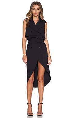 Haute Hippie Sleeveless Trench Dress in Black