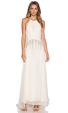Haute Hippie Gathered Embellished Gown in Antique Ivoire