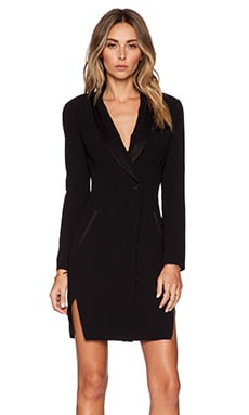 Haute Hippie Double Shawl Tuxedo Dress in Black