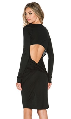 Haute Hippie Open Back Midi Dress in Black