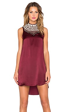 Haute Hippie Hi Low Embellished Neck Dress in Fig