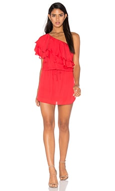 One Shoulder Ruffle Dress in Battle Red