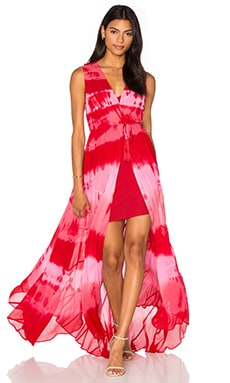 Tie Dye Paneled Gown in Kozmic Red