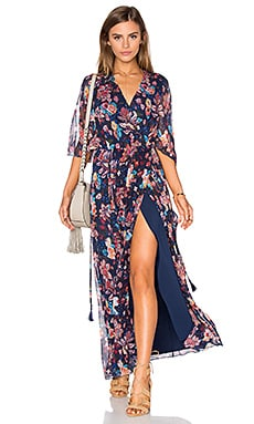 Haute Hippie Flutter Sleeve Maxi Dress in San Franciscan Nights