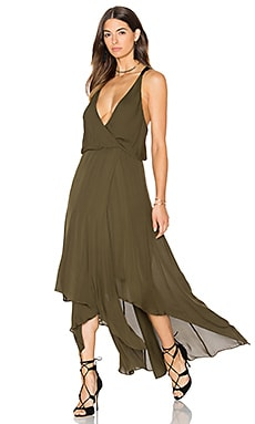 Chiffon Godets Leather Wrap Dress em Militar
