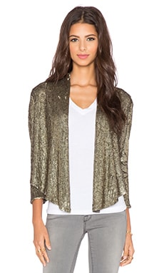 Haute Hippie Drapey Sequin Blazer in Coal