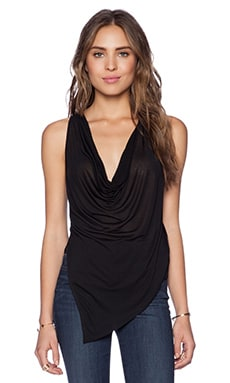 Haute Hippie Cropped Cowl Neck Tank in Black