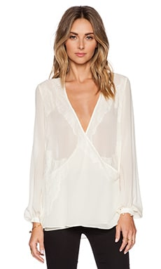 Lace & Chiffon Tie Front Blouse in Antique Ivoire