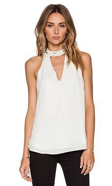 Haute Hippie Embellished Collar Sleeveless Blouse in Swan & Crystal