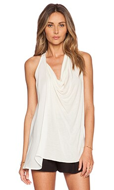 Haute Hippie Racer Back Blouse in Swan