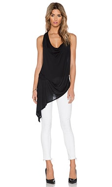 Haute Hippie Asymetric Hem Tank in Black