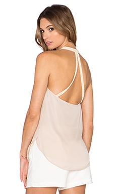 Haute Hippie Embellished Strap Cowl Tank in Buff