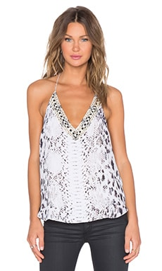 Haute Hippie Embellished Scarface Tank in Buff Multi