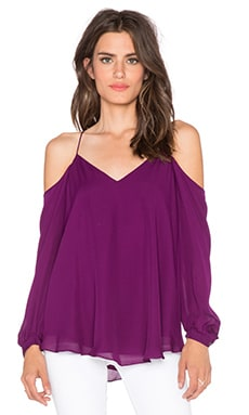 Haute Hippie Cold Shoulder Blouse in Wineberry