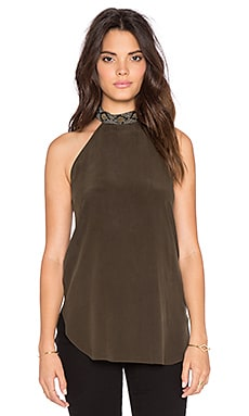 Haute Hippie Embellished Collar Tie Back Tank in Dark Military